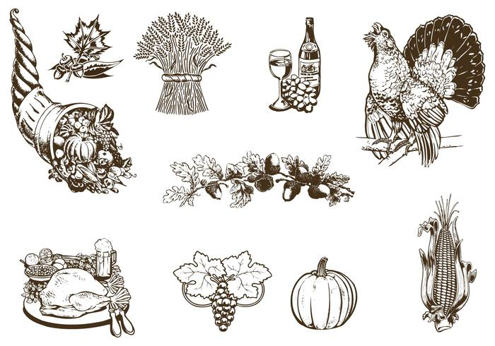 Pacote Vector Vintage Thanksgiving