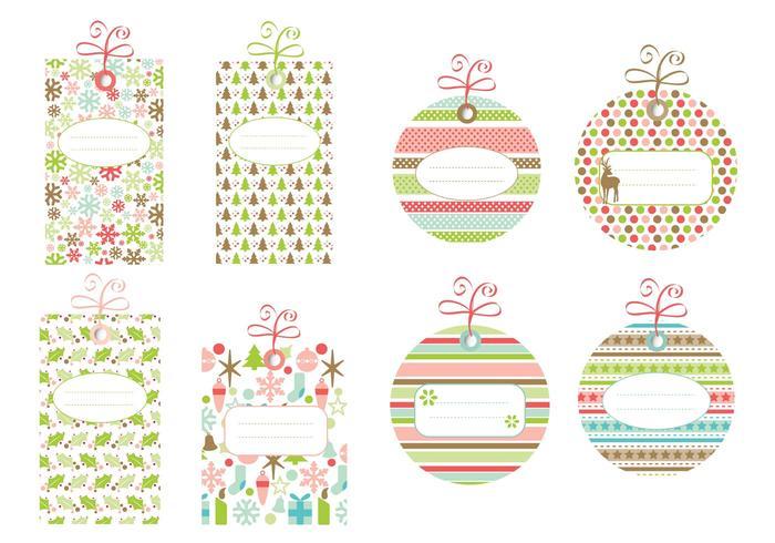 Mönstrade juletikettvektorpaket