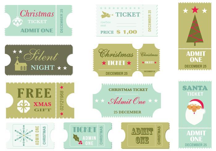 Retro Christmas Ticket Vector Pack