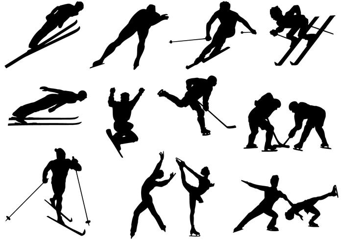 Skiing and Skating Silhouette Vector Pack