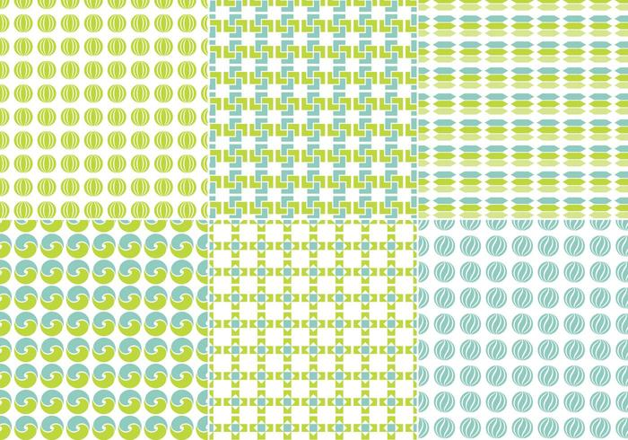 Blue and Green Seamless Vector Pattern Pack
