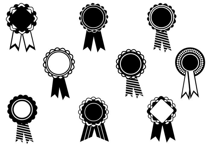 Black and White Award Ribbon Vector Pack