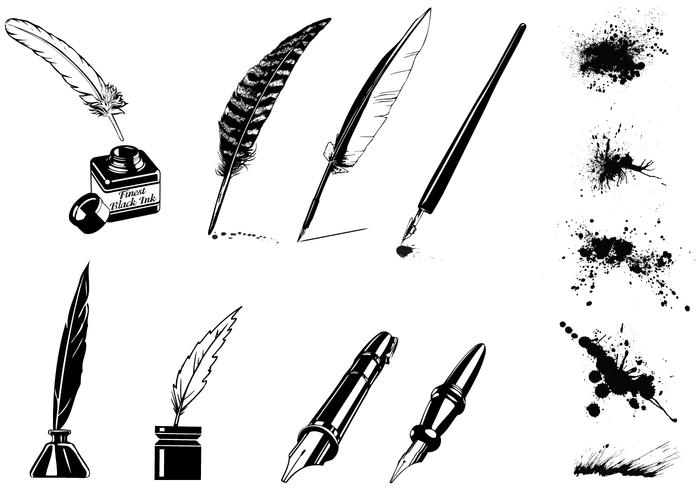 Vintage Ink Pen Vector and Splatter Vector Pack