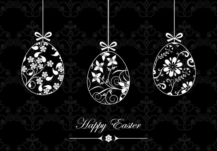 Black and White Happy Easter Vector Wallpaper
