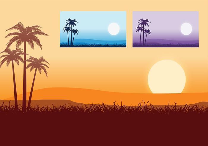 Tropical Sunset Vector Wallpaper