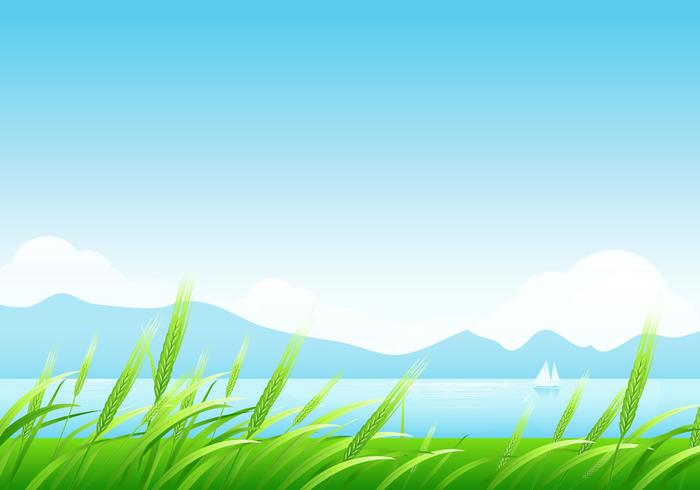 Spring Wheat and Mountains Landscape Wallpaper Vector