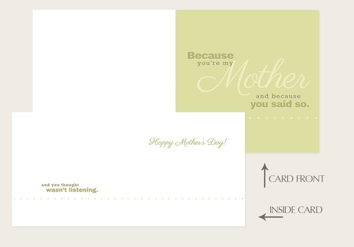"""Because You're My Mother"" Mother's Day Card Vector Template"