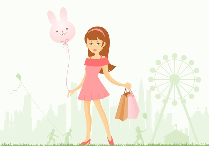 Girl at Amusement Park Vector Wallpaper