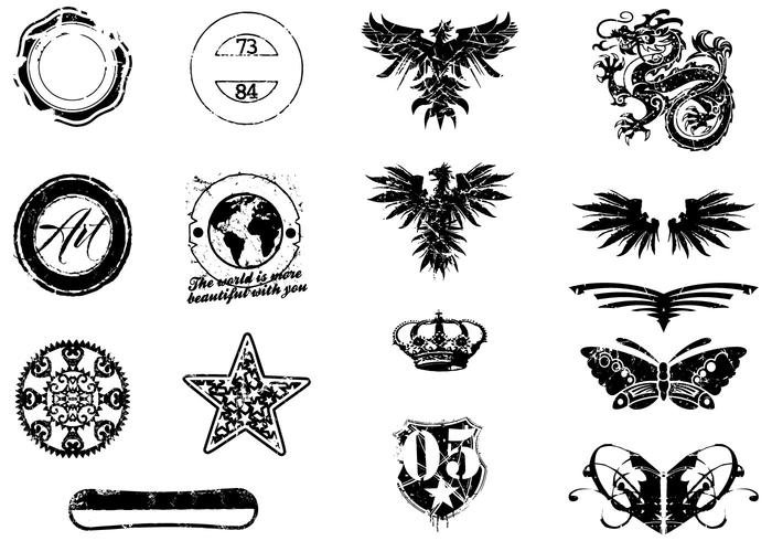 Various Grunge Vector Elements Pack