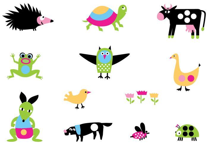 Pack de vectores de dibujos animados de dibujos animados brillante