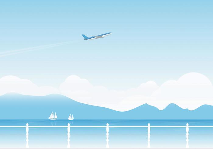Airplane and Lake Vector Wallpaper