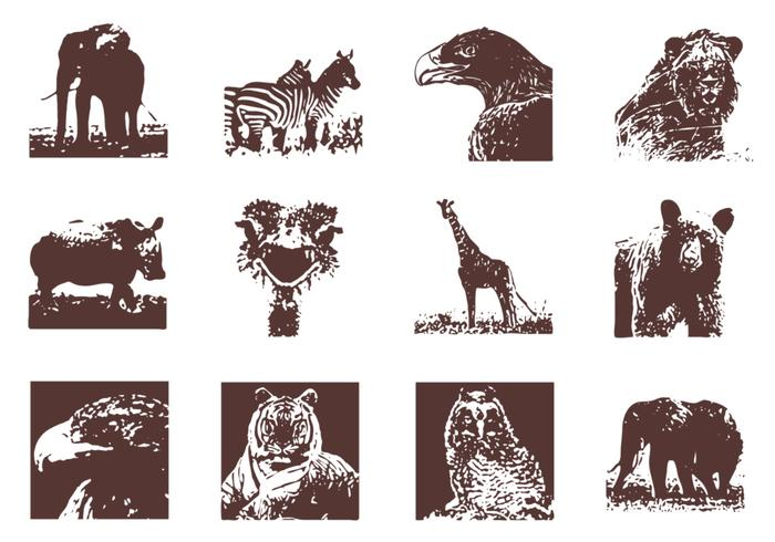 Grunge Wild Animals Vector Pack