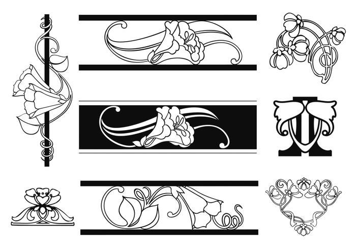 art nouveau floral ornament vector pack download free vector art stock graphics images. Black Bedroom Furniture Sets. Home Design Ideas