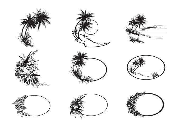 Tropical Beach Vectors and Frame Vector Pack