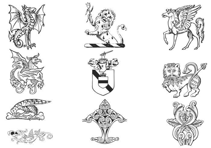 Hand Drawn Heraldry Vector Pack