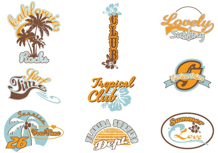 Surf Summer Label Vector Pack