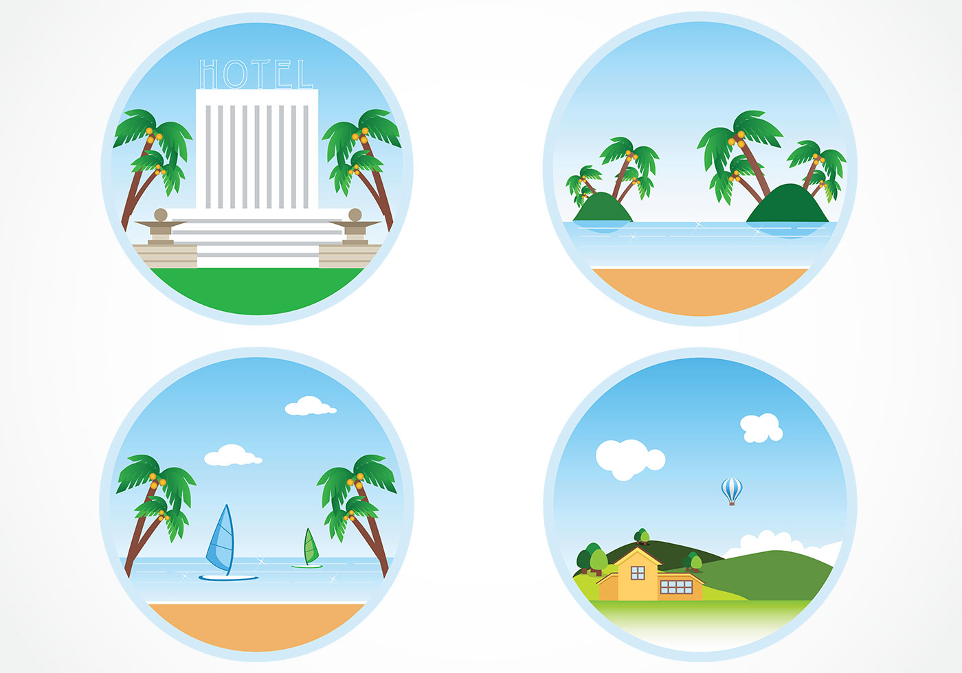 Happy Summer Holidays Background Vector: Circular Summer Holiday Background Vector Pack