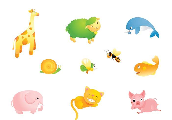 Pack de dibujos animados lindo vector de animales