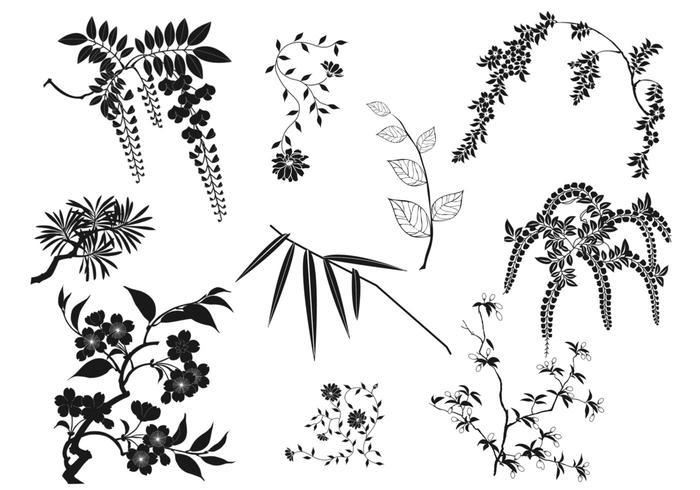 Oriental Branches and Leaves Vector Pack