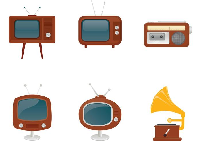 Retro Radio, TV, and Record Player Vectors