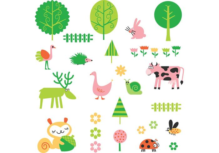 Cute Cartoon Plant and Animal Vector Pack