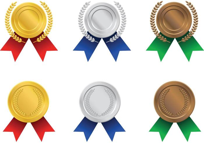 Gold, Silver, and Bronze Ribbon Award Vectors