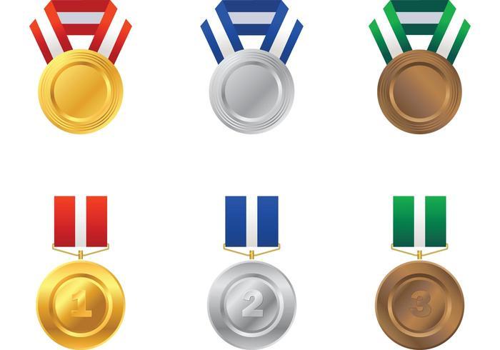 Oro, Plata y Medalla de Bronce Vector Pack