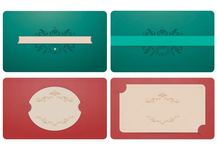 Elegant Emerald and Coral Label Vector Ornament Pack