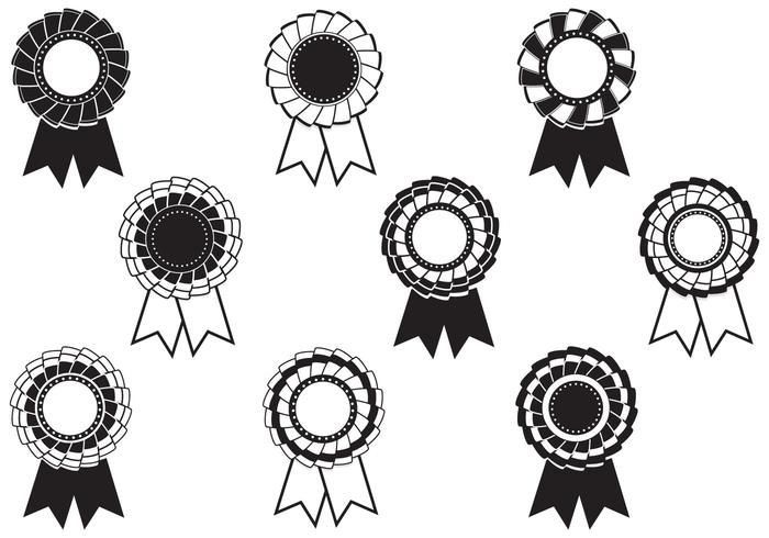 Black and White Rosette Award Vector Pack