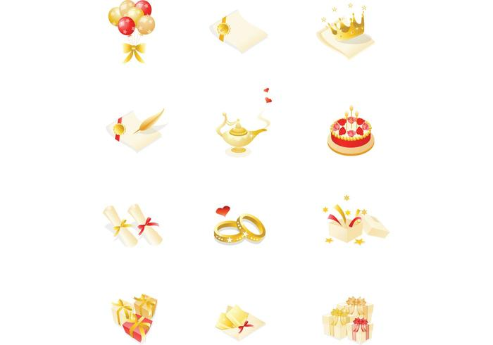 Gold Event and Party Vector Icons