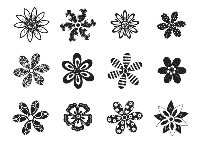 Decorative Black and White Flower Vector Pack
