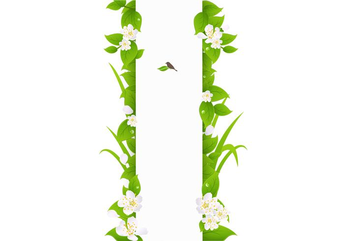 Vertical Green Leaves Banner Vector