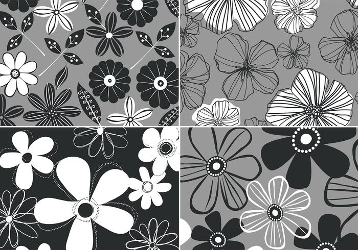 Black and White Retro Floral Background Vector Four Pack