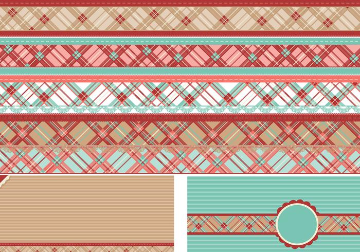Plaid Border Vectors and Background Vector Pack