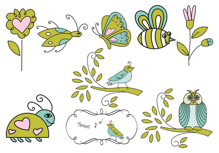 Hand Drawn Insect, Flower, and Bird Vectors