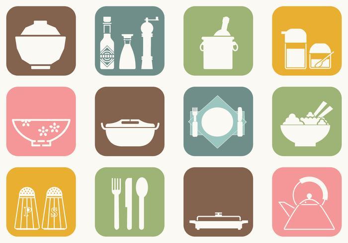 Abendessen Tabelle Vektor Icons
