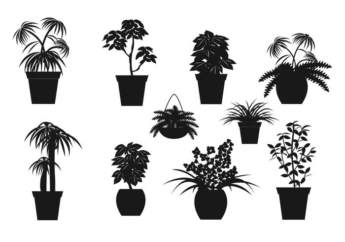 Potted Plant Vector Silhouettes