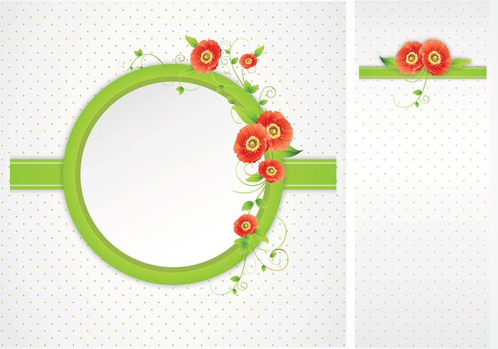 Green Polka Dotted Poppy Frame Vector Pack
