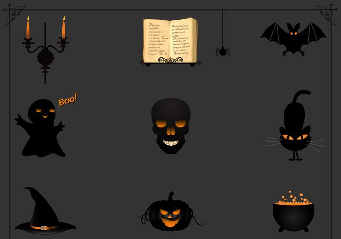 Black Halloween Icon Vector Pack