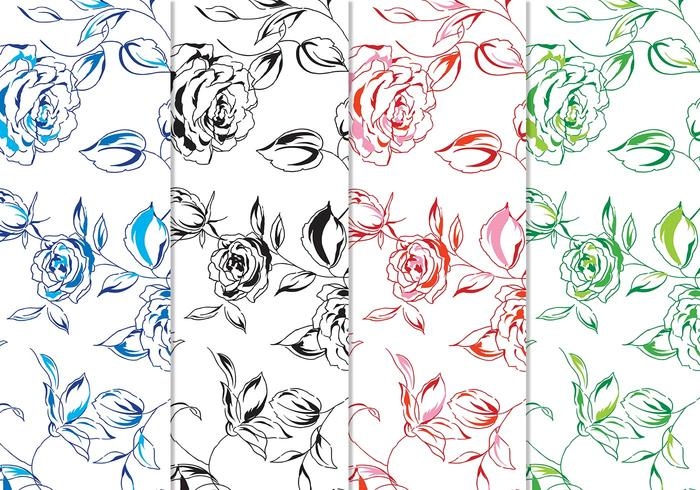 Hand-painted Floral Vector Background Pack