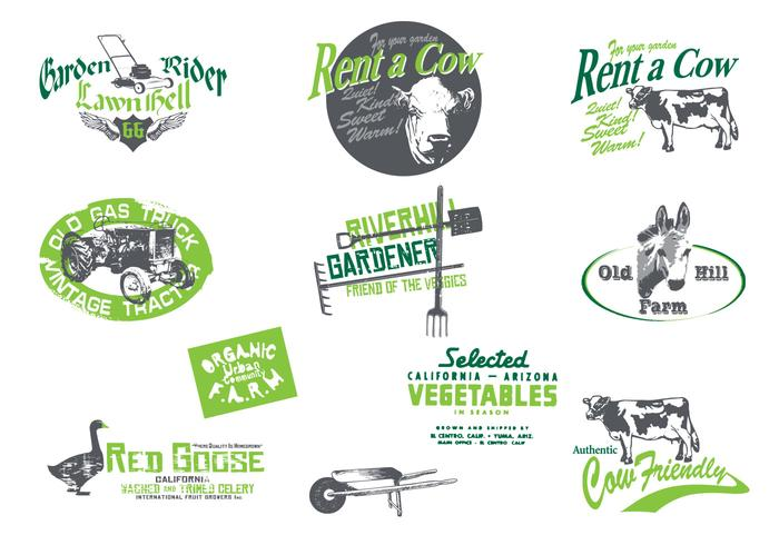 Grungy Farm and Garden Vector Pack