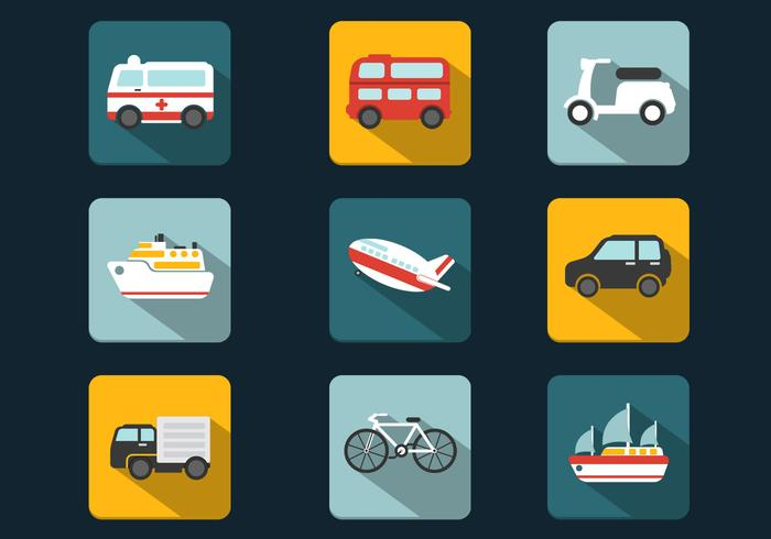 Shadowy Transportation Vector Icons