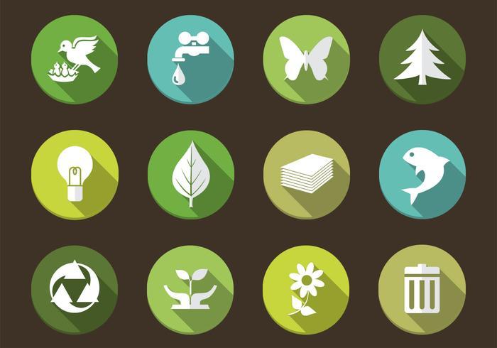 Long Shadow Eco Nature Icon Vectors