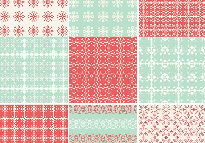Pixelated Snowflake Vector Pattern Pack