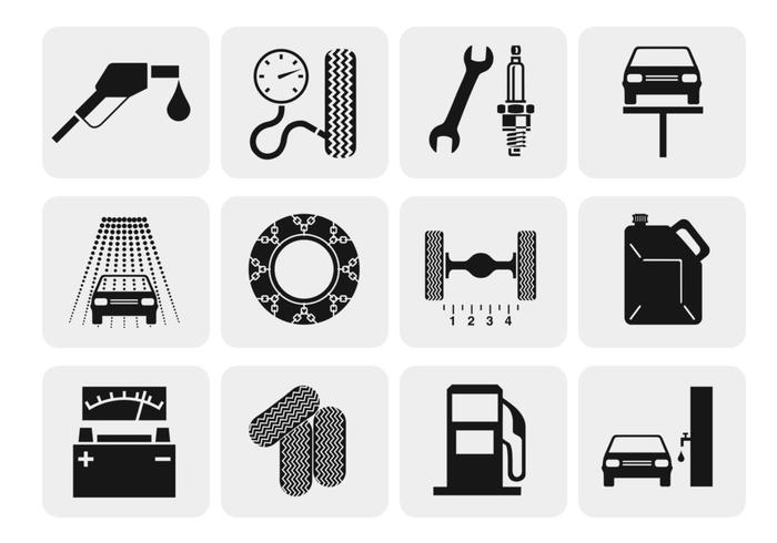 Car Repair and Service Icon Vectors