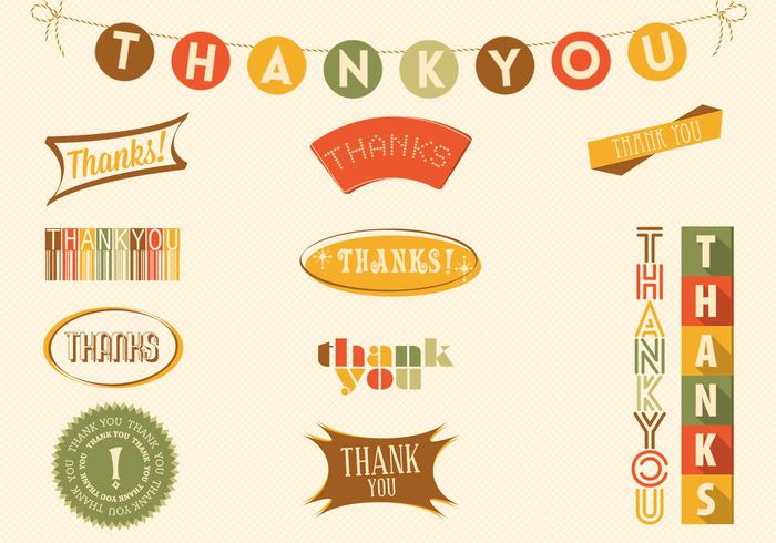 Fall Colored Thank You Badge Vector Pack