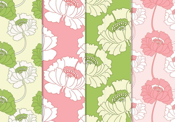 Seamless Pink and Green Floral Vector Patterns