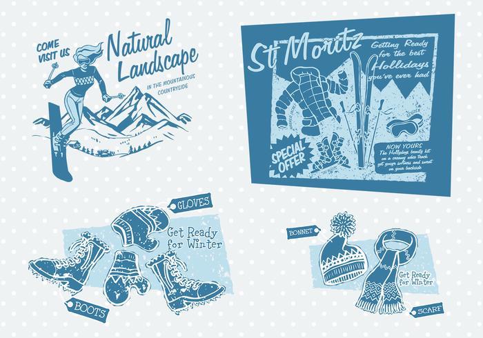 Vintage Winter Advertising Vector Pack