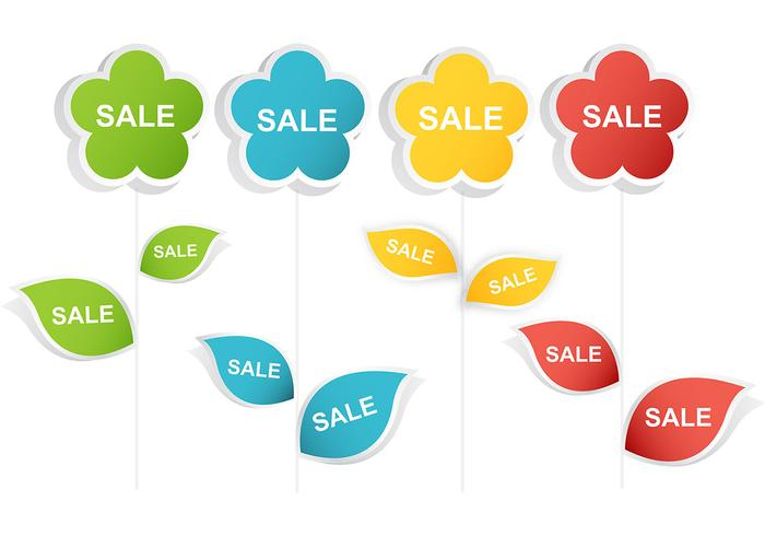 Abstract Simple Sale Flower Vector Pack