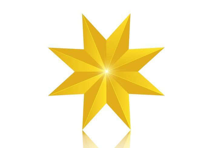 3D 8 Point Golden Star Vector